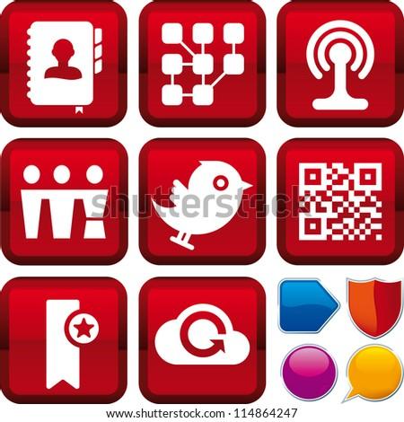 Vector icon set social media - stock vector
