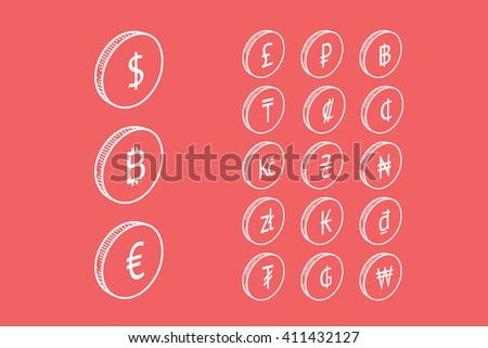 Vector icon set with symbols of world currencies on red background - stock vector