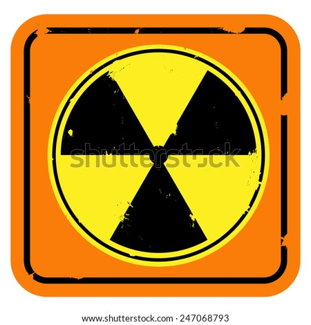 Vector icon. Shabby radiation sign isolated on white background. - stock vector