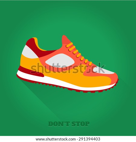 Vector icon shoes for training. Running shoe, sneaker isolated on green background. Flat design with long shadow. 10 eps - stock vector