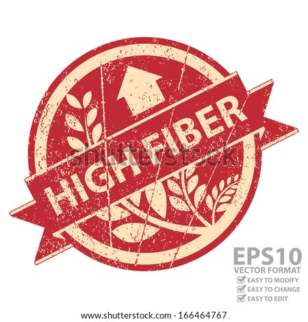 Vector : Icon, Tag, Sticker, Label or Badge For Healthy Product or Product Information Present By Red Grunge Style Icon With High Fiber Ribbon and Crop, Cereal or Grain Sign Isolated on White - stock vector