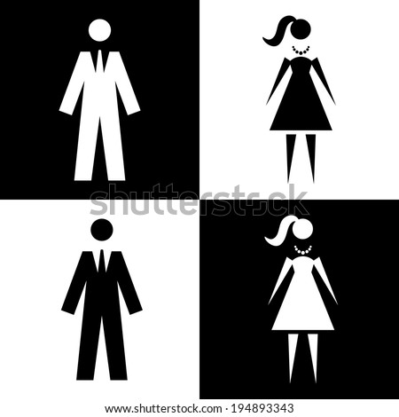 Vector icon with man and woman. Illustration with figures of peoples. Sign for print and web - stock vector