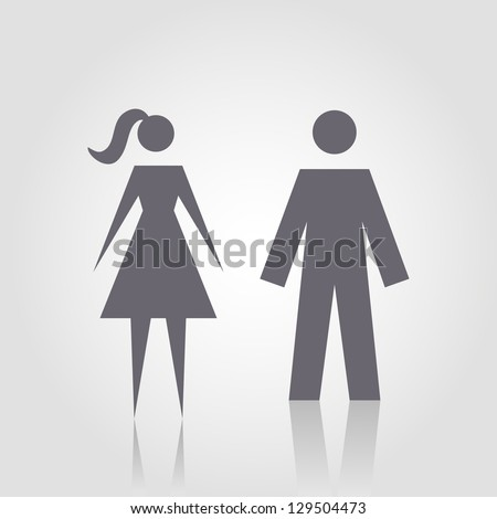 Vector icon with man and woman. Simple illustration with figures of peoples. Stylized silhouettes of person. Abstract sign for print and web - stock vector