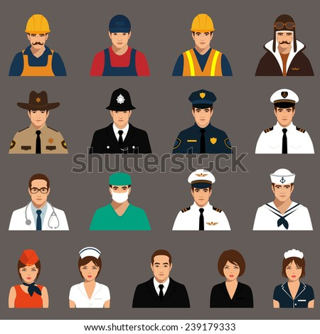 vector icon workers, profession people, cartoon vector illustration  - stock vector