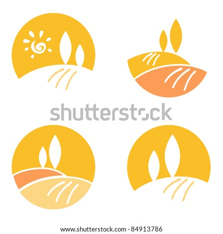 Vector icons and design elements collection: Nature Landscape, Hills. - stock vector
