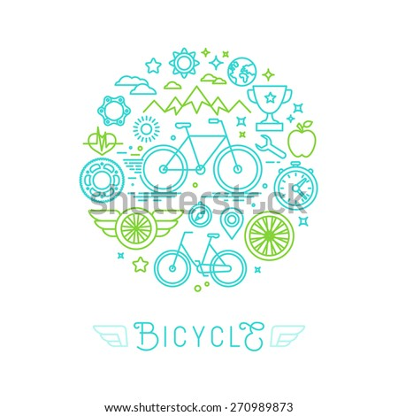 Vector icons and logo design elements in trendy linear style - bicycle and sport - stock vector