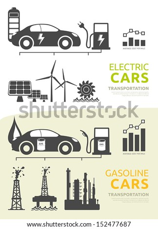 Vector icons and symbols for electric cars and gasoline cars - stock vector