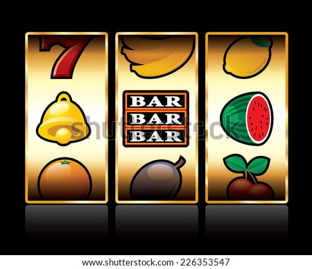 vector icons at slot machine - stock vector