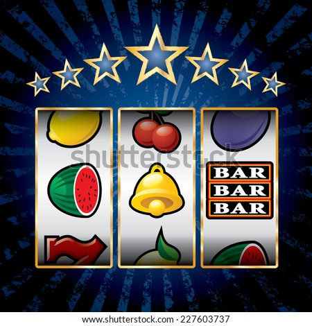 vector icons at slot machine on blue burst background - stock vector