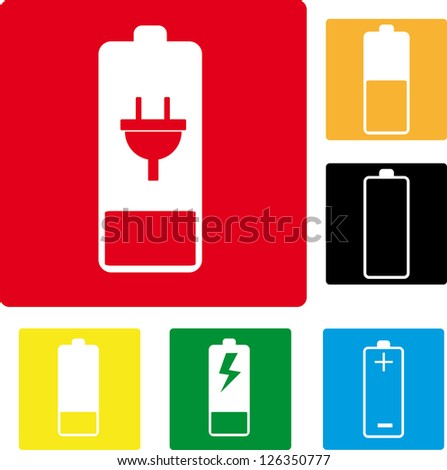 Vector icons battery level - stock vector