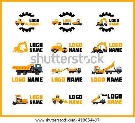 Vector icons construction equipment that can be used for logos - stock vector
