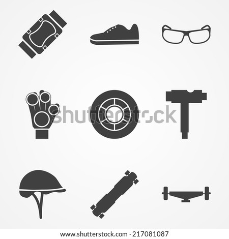 Vector icons for accessories for longboarders. Set of black silhouette vector icons with symbols of protection for longboarding or other extreme sport. - stock vector