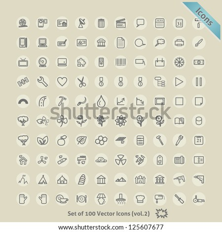 Vector Icons for Design. Symbol Collection. - stock vector