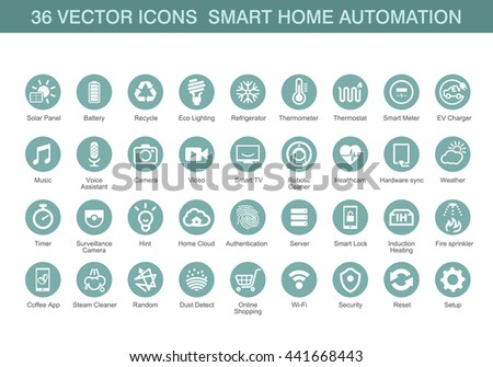 Vector icons for smart home automation. - stock vector
