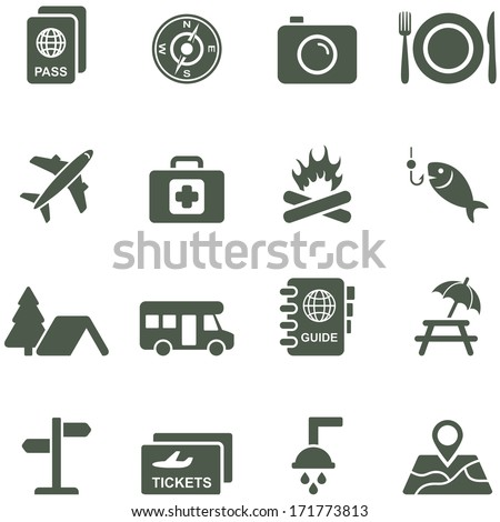 Vector icons for travel and tourism. All elements are on separate layers.  - stock vector