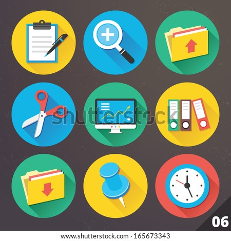 Vector Icons for Web and Mobile Applications. Set 6. - stock vector
