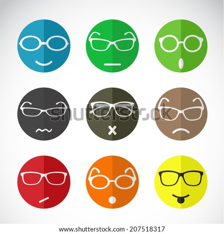 Vector icons group of faces with eyeglasses. - stock vector