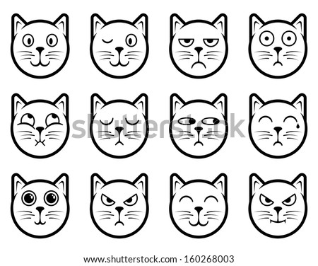 Vector icons of cat smiling faces - stock vector