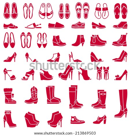 Vector icons of different shoes and boots - stock vector