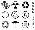 Vector icons of ecology - stock vector