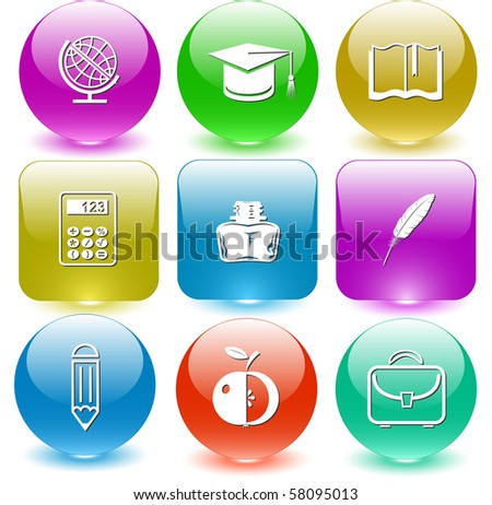 Vector icons of education - stock vector