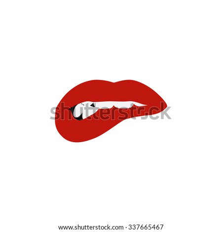 Vector icons of female lips print - stock vector