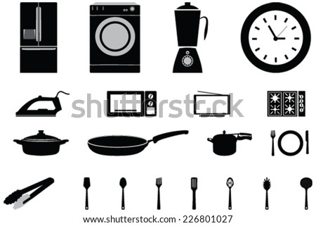 Vector icons of home appliances  and Consumer Electronics Tv Fridge Microwave Washer utensils, pressure cooker and Electric Cooker - stock vector