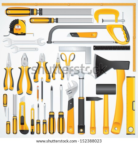 Vector Icons of Modern Hand Tools. Instruments Collection for Metalwork, Woodwork, Mechanical and Measuring Works. - stock vector