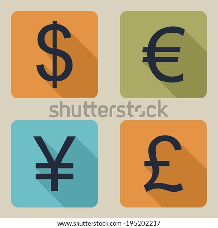 Vector icons of money. Dollar, euro, pound, yen. flat design - stock vector