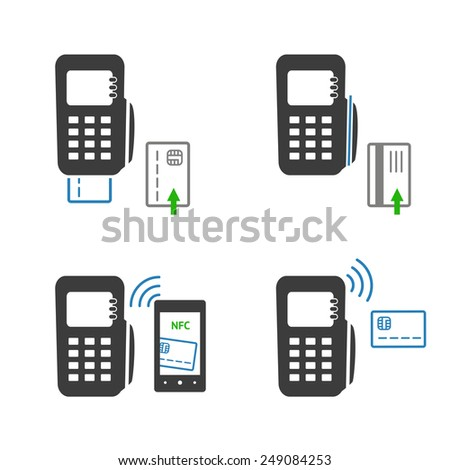 Vector icons of payments methods. Processing of mobile payment, isolated on white background. - stock vector