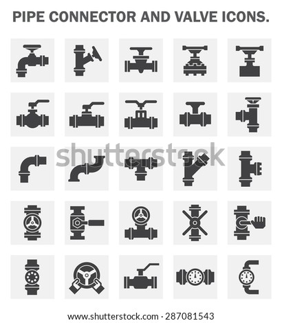 Vector icons of pipe connector, valve and meter for plumbing and piping work. - stock vector