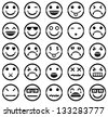 Vector icons of smiley faces - stock vector