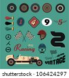 Vector icons of vintage car racing - stock vector