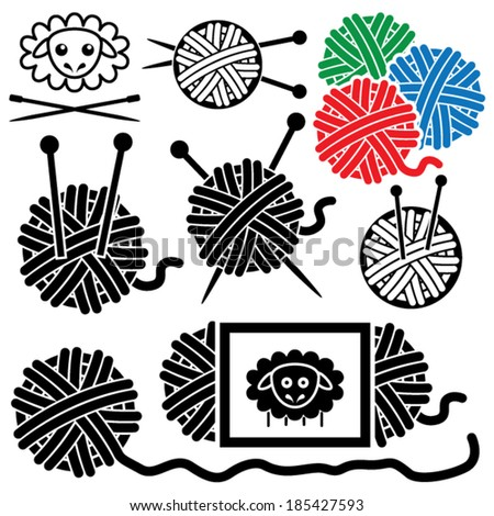 vector icons of yarn balls with sewing equipment needles and sheep symbol - stock vector