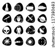 Vector icons on the theme of outer space - stock vector