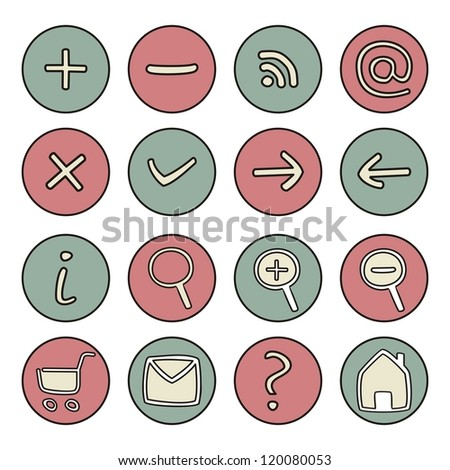 Vector icons or buttons - doodle arrow, home, rss, search, mail, ask, plus, minus, shop, back, forward. Web tools symbols button. Website design pink ad green elements isolated on white background - stock vector