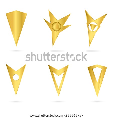 Vector icons or logo.  Set gold markers tags to map isolated on white background. - stock vector
