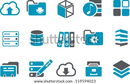 Vector icons pack - Blue Series, archive collection  - stock vector