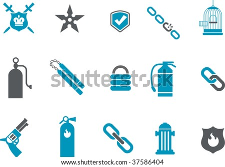 Vector icons pack - Blue Series, protection collection - stock vector