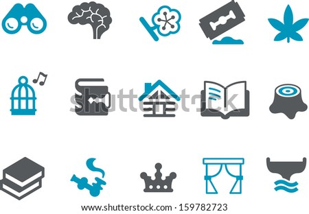 Vector icons pack - Blue Series, relax collection  - stock vector