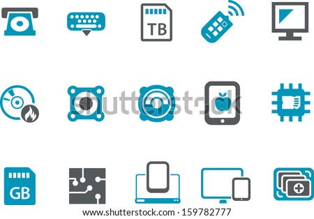 Vector icons pack - Blue Series, technology collection  - stock vector
