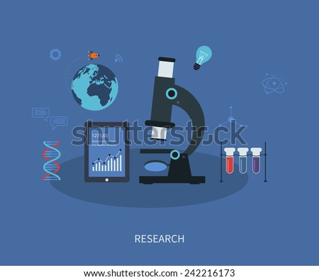 Vector icons research flat infographic with a laboratory microscope surrounded by icons depicting pharmaceutical, chemistry, medical and genetics - stock vector