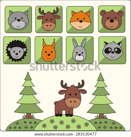 vector icons set cartoon forest animals - stock vector