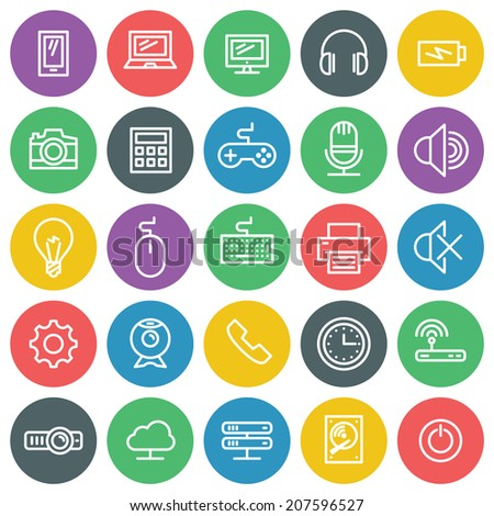 Vector icons set. For web site design and mobile apps. - stock vector
