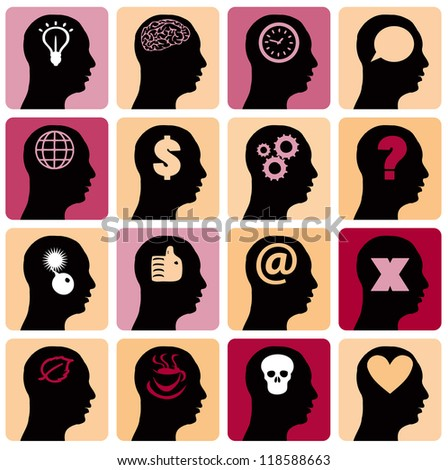 Vector Icons set head think silhoutte vector man and his mind - stock vector