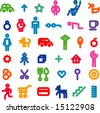 vector icons set of 36 - stock vector