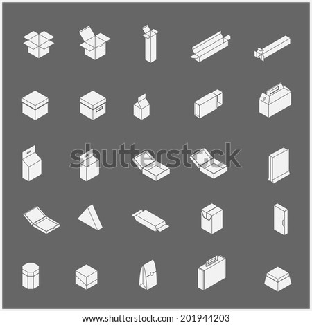 Vector Icons set too many packaging design in isolated background - stock vector