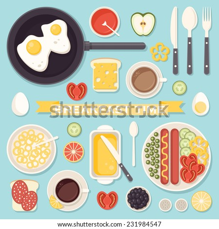 Vector icons set with fresh breakfast food and drinks in flat style - stock vector