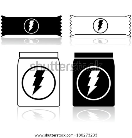 Vector icons showing power cereal bars and food supplement powder - stock vector