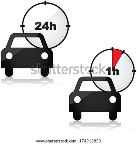 Vector icons showing two options for renting a car: for one or 24 hours - stock vector